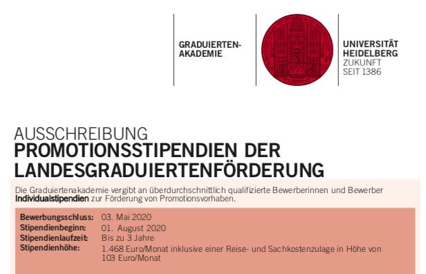 PROMOTIONSSTIPENDIUM DER LANDESGRADUIERTENFÖRDERUNG – Bewerbungsschluss: 03.05.2020