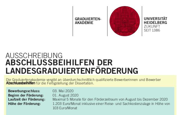 ABSCHLUSSBEIHILFE DER LANDESGRADUIERTENFÖRDERUNG – Bewerbungsschluss 03.05.2020